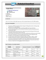 Sample Resume For Sap Abap 1 Year Of Experience by Sap Abap Resume 3 Years Experience Corpedo Com