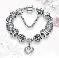 charm bracelet silver charms images Gorgeous heart charm bracelet with crystals silver charms jpg