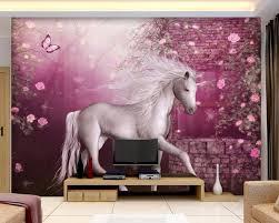 aliexpress com buy 3d wallpaper custom mural unicorn flowers
