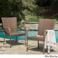 outdoor pe wicker stackable club chairs set of 2 by christopher