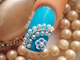 blue fimo flower pearl beads easy diy nail art design step by