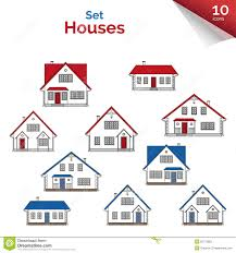 vector illustration house projects in white red grey and blue