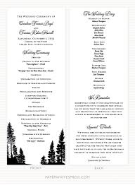 Sample Of Wedding Program Pine Tree Wedding Program Sample Paperwhites Wedding Invitations