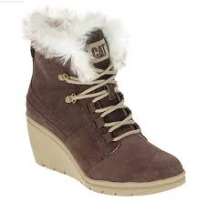 s boots with fur footwear fur waterproof wedge boots in chocolate s