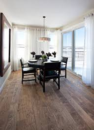 espresso hardwood floors dining room traditional with curtains