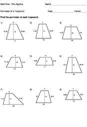Free Printable Perimeter And Area Worksheets Perimeter Of A Trapezoid Worksheets Mathvine Com