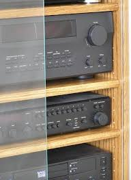 Audio Cabinets With Glass Doors Modern Component Stereo Cabinet With Glass Doors 53 High Oak