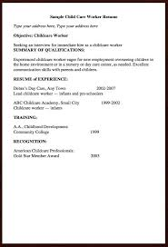 child care resume resume for child care background success