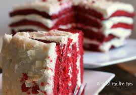 a feast for the eyes red velvet cake with white chocolate frosting