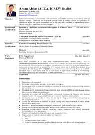 Resume Expected Graduation by Ahsan Abbas Acca Resume