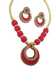 red fashion necklace images Buy red colour silk thread necklace with matching earrings online jpg