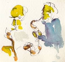 two saxaphones at the blues jam geoarge and bill watercolor ink