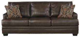 Ashley Leather Living Room Furniture Signature Design By Ashley Corvan Leather Match Sofa With Coil
