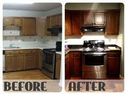 Staining Kitchen Cabinets Darker Before And After Kitchen Cabinets Restaining 42 With Kitchen Cabinets Restaining