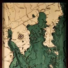 Green Bay Map Door County Green Bay Wood Map 3d Nautical Topographic Chart Art