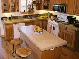 cooking table with concrete countertop design plus wooden stools