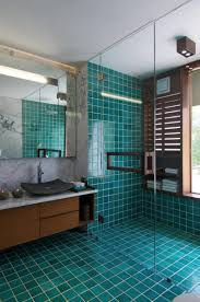 turquoise almost teal or emerald green shower tile and bathroom