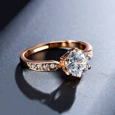 rings with crystal images Rose gold wedding rings crystals women accessory jpg