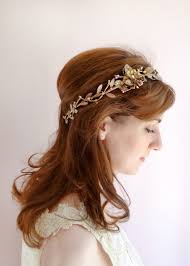hair crystals rosetti gold bronze bridal headband with swarovski crystals