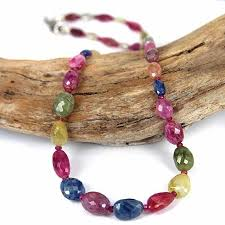 gemstone beaded necklace images Multi color sapphire gemstone bead necklace skj jewelry jpg