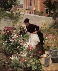 G Stige U K Hen Victor Gilbert Jeune Femme Dans Le Jardin Fleuri Victor