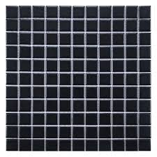 elitetile retro 1 x 1 porcelain mosaic tile in matte black