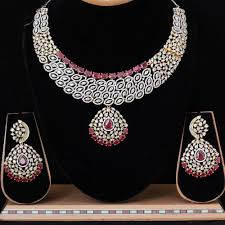 diamond necklace sets images American diamond necklace set heavy american diamond necklace jpg