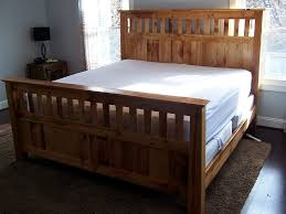 mission style queen size bed frame made from reclaimed heart pine