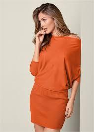 mini sweater dress in burnt orange venus