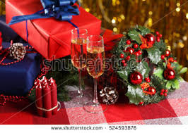 Champagne Glitter Christmas Decorations by Christmas Christmas Table Cloth Small Presents Stock Photo