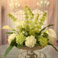 Pedestal Bowls For Centerpieces White Calla Lilly And Bells Of Ireland Silk Floral Centerpiece In