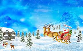 christmas santa claus reindeer cartoon hd wallpaper of christmas