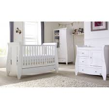 Silver Cross Nostalgia Sleigh Cot Bed 3 White Nursery Furniture Set New Sets Mothercare Within 7