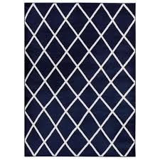 jasmin collection moroccan trellis navy ivory 5 ft 3 in x 7 ft