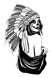 sugar skull with indian headdress drawing wurk