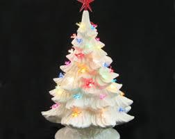 Large Ceramic Christmas Tree Winter White Ceramic Christmas Tree Clear Lights Large 18 Inch