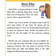 work ethic character reading comprehension worksheet