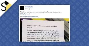 did a pennsylvania daycare receive a letter about a black