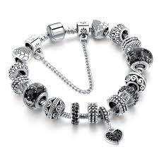 black heart bracelet images Szelam black heart charm bracelets for women european silver jpg