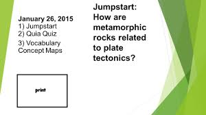 jumpstart how are metamorphic rocks related to plate tectonics