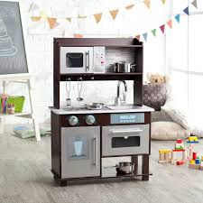 Kitchen Sets Furniture Kidkraft Espresso Toddler Play Kitchen With Metal Accessory Set