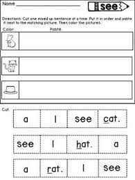sight word sentences sight word sentences cut and paste to match