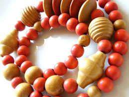 large wood bead necklace images Vintage fashion necklace large natural orange wood beads past jpg