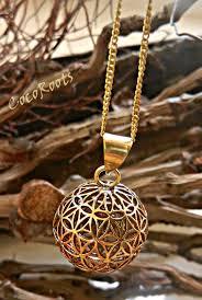 metal pendant necklace images Flower of life gold pendant unique tribal design necklace jpg
