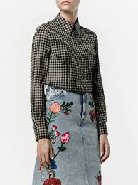 gucci floral embroidered check shirt 1 390 buy ss17 online