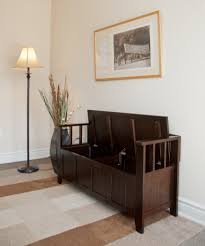 decorating chic small entryway foyer bench with shoe storage in