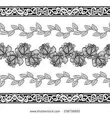 black white floral border ornaments vector stock vector 236738650