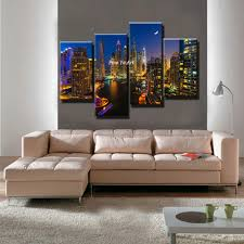 Bedroom Wall Canvases 4 Piece Canvas Prints Decorative Famous City Photo Modern