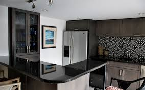 small kitchen design with black pearl granite countertops mosaic