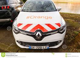 renault orange orange telecom service car renault editorial photo image 86395971